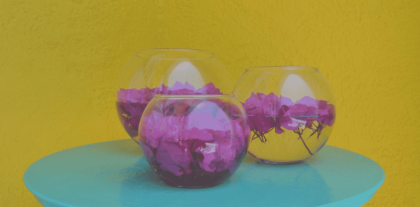 fleurs qui flottent dans bols transparents sur table bleue